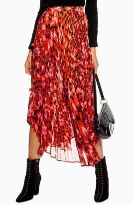 Topshop Dogtooth Pleat Midi Skirt