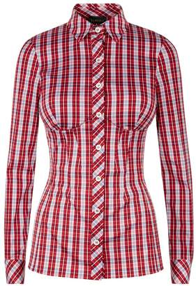 La Perla Daily Looks Red Tartan Print Bustier Shirt With Built-In Bra
