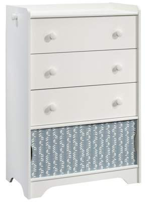 Better Homes & Gardens Cartwheel 3-Drawer Dresser, White, With Chevron Pattern