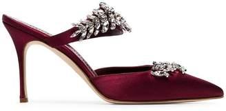 Manolo Blahnik burgundy Lurum 90 crystal embellished satin wrapped mules