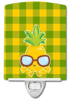Caroline's Treasures Pineapple Cool Sunglasses Face Ceramic Night Light