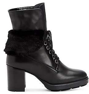 Aquatalia Women's Idris Faux Fur-Trimmed Leather Combat Boots