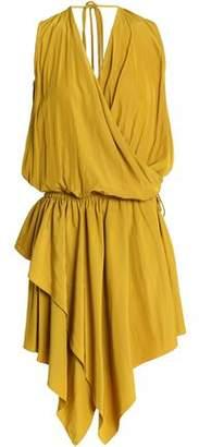 Lanvin Wrap-Effect Asymmetric Washed-Satin Mini Dress