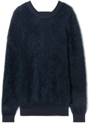 Thierry Mugler Cutout Brushed Knitted Sweater - Navy