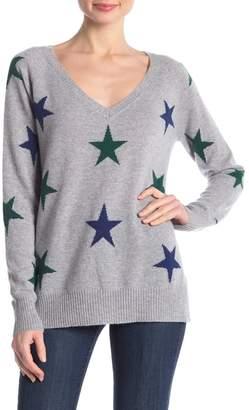 Central Park West Cashmere V-Neck Star Sweater