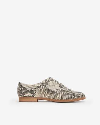 Express Snakeskin Print Oxford Loafers