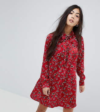 Long Sleeve Shirt Dress In Vintage Floral - Burgundy Glamorous