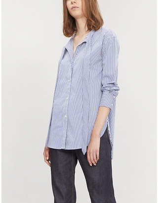 Theory Weekender neck-tie striped cotton-blend shirt