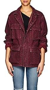 ADAPTATION Women's Leopard-Print Cotton Canvas Field Jacket - Purple