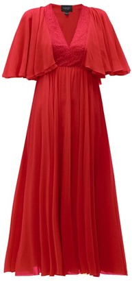 Giambattista Valli Butterfly Sleeve Silk Chiffon Midi Dress - Womens - Red