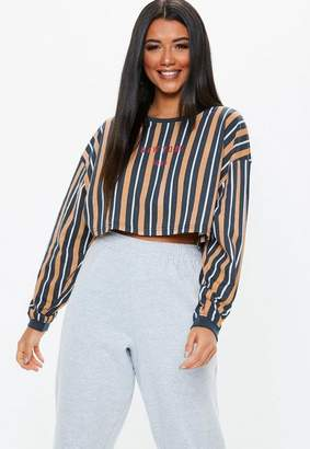 Missguided Camel Embroidered Graphic Long Sleeve Crop Top