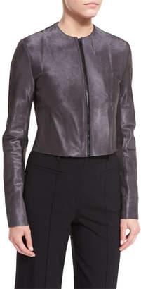 Diane von Furstenberg Tailored Zip-Front Cropped Leather Jacket