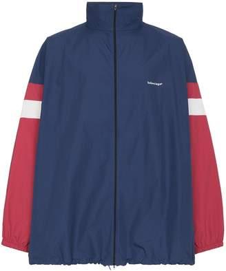 Balenciaga logo print stripe track jacket