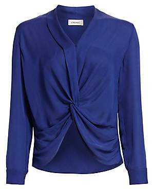 63c6b7c85f155 L Agence Women s Mariposa Plunge Silk Blouse
