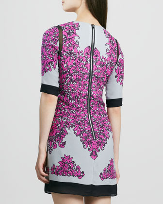 Milly Blaire Combo Printed Half-Sleeve Shift Dress