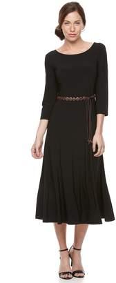 Women's Nina Leonard Belted Gored Dress