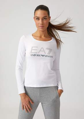 Emporio Armani Long-Sleeve T-Shirt With Ea7 Rhinestone Logo