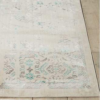 Kathy Ireland Home Silver Screen Ivory/Teal Area Rug