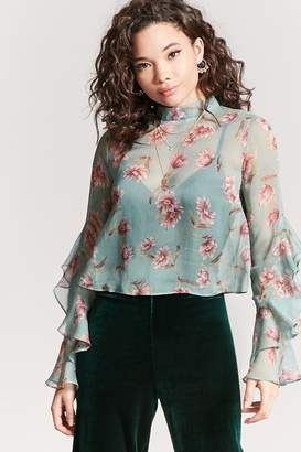 Forever 21 Sheer Floral Chiffon Top
