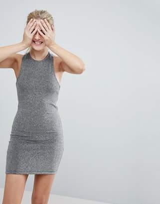 Monki Cross Back Sparkle Mini Dress