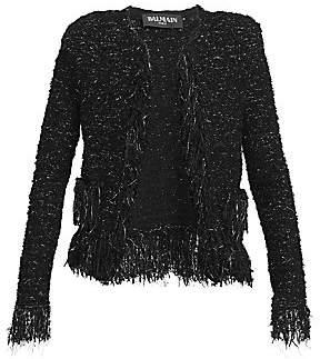 f80358f3 Balmain Women's Fringed Tweed Jacket