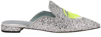 Chiara Ferragni Ballet Flats Slipper Logomania Glitter Pointy Toe With Maxi Embroidery Fluo Eyes Flerting