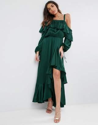 Asos Cold Shoulder Ruffle Maxi Dress