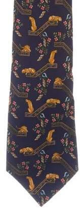 Salvatore Ferragamo Silk Cheetah Print Tie