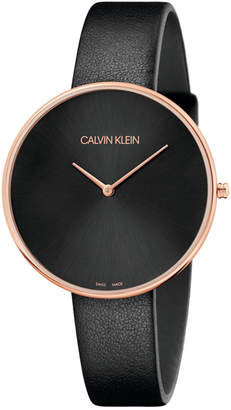 Calvin Klein Full Moon Black Leather Strap Watch 42mm