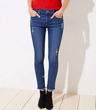 0568e9a5 LOFT Curvy Floral Embroidered Slim Pocket Skinny Jeans in Original Mid Indigo  Wash