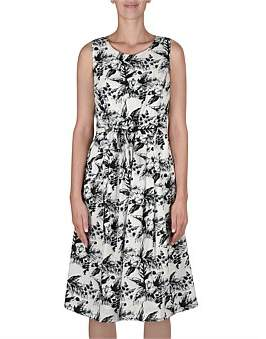 Jump Sleeveless Mono Floral Dress W/Tie
