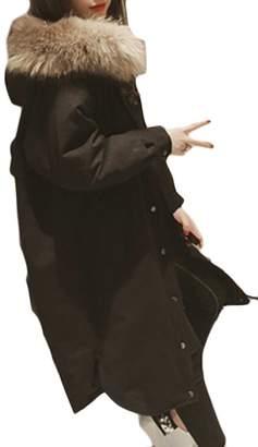 Pandapang Womens Plus Size Down Faux Fur Hood Outwears Parkas Jacket Coat