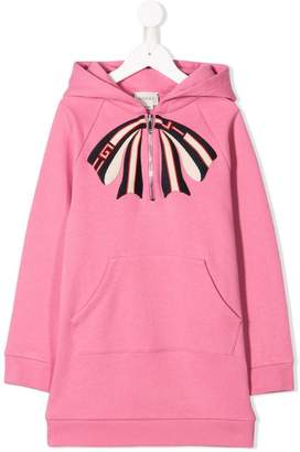 Gucci Kids bow hooded sweatshirt dress