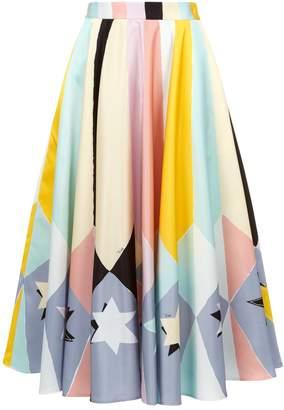 Emilio Pucci Abstract Star Print Midi Skirt