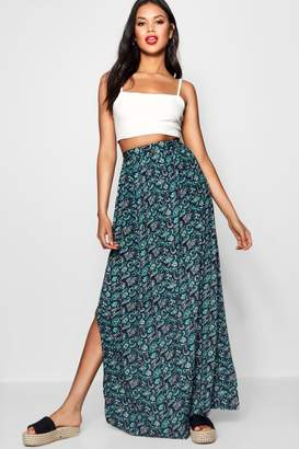 boohoo Thigh Split Woven Paisley Maxi Skirt