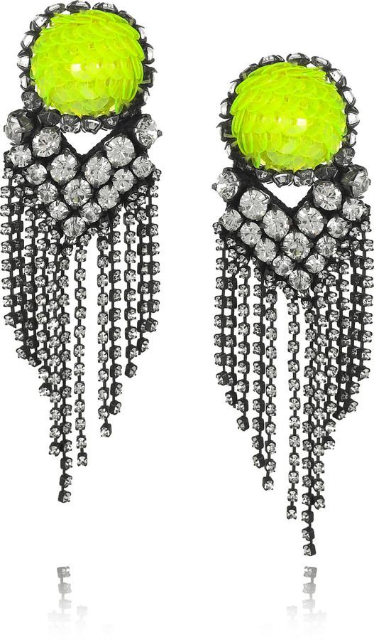 Shourouk E. Vegas crystal and sequin earrings