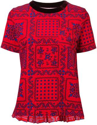 Sacai Red Pleated Back Printed T-Shirt