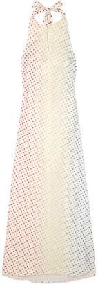 Rosie Assoulin Polka-dot Flocked Stretch Cotton-poplin Halterneck Maxi Dress