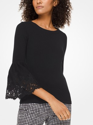 Michael Kors Cashmere and Lace Bell-Cuff Sweater