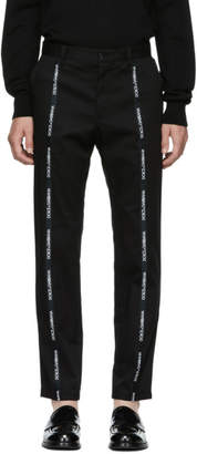 Dolce & Gabbana Black Front Logo Trousers