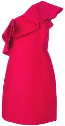 Halston ruffle trim cocktail dress