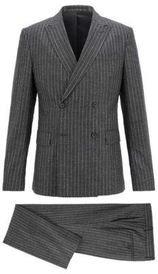 BOSS Hugo Double-breasted pinstripe suit in stretch virgin wool 40R Black