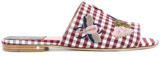 Laurence Dacade embroidered gingham sandals