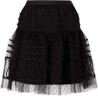 RED Valentino Tulle Heart Mini Skirt