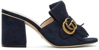 Gucci Navy Suede GG Marmont Slide Heeled Sandals