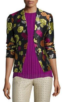 Etro Floral-Print Corset-Back Jacket, Beige/Pink $1,895 thestylecure.com