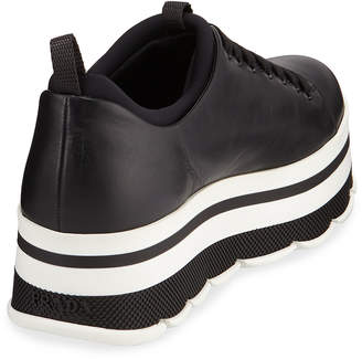 Prada Leather Platform Low-Top Sneakers