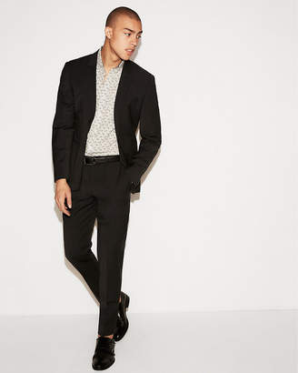 Express Extra Slim Black Wool-Blend Performance Stretch Stripe Suit Pant