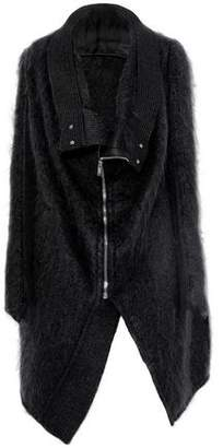 Rick Owens Asymmetric Ribbed Wool-Paneled Mohair-Blend Jacket