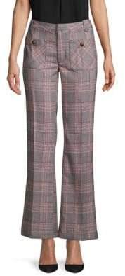 Free People Glen Plaid Flared Pants